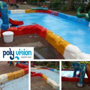 Zwembadrenovatie polyester spetterbadje. Speeltuin Bankaplein in Utrecht. Complete zwembadrenovatie