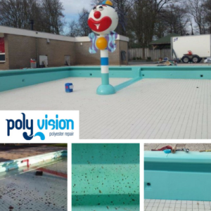 Renovatie polyester zwembadwanden. Camping Het Eibernest in Eibergen (Gelderland). zwembadrenovatie vanwege opgeloste/verkrijte zwembadcoating