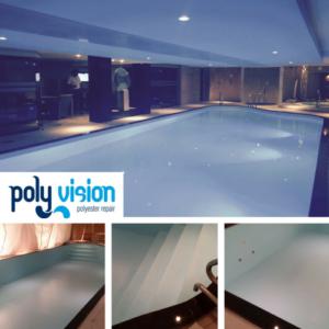 Zwembadrenovatie polyester zwembad / osmosebehandeling. International Health Spa in Den Haag (Zuid-Holland). zwembadrenovatie vanwege osmose