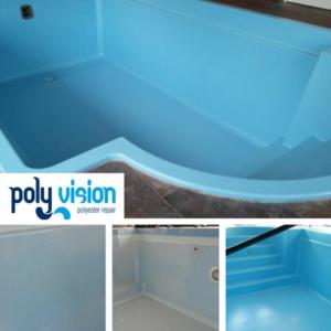 Zwembadrenovatie polyester zwembadcoating / osmosebehandeling. Privé zwembad in Limburg. zwembadrenovatie vanwege osmose
