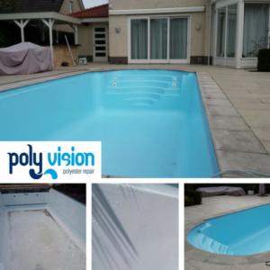 Zwembadrenovatie polyester zwembad / osmosebehandeling. Privé zwembad Noord-Brabant. zwembadrenovatie vanwege osmose
