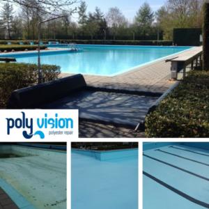 Zwembadrenovatie polyester/betonnen 25 meterbad/recreatiebad. Zwembad De Byvoorde in Wehl (Gelderland). zwembadrenovatie vanwege onthechte en doffe/verkrijte zwembadcoating