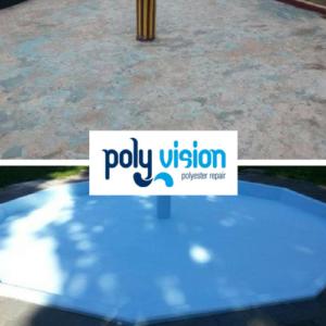 Zwembadrenovatie betonnen peuterzwembad. Speeltuin Wielwijk in Dordrecht (Zuid-Holland). zwembadrenovatie vanwege scherpe randen