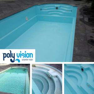 Zwembadrenovatie polyester zwembad (Starline). Privé zwembad in Zuid-Holland. zwembadrenovatie vanwege verkrijte zwembadcoating