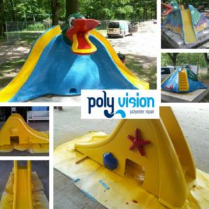 coating polyester peuterglijbaan, polyester reparatie, renovatie, onderhoud, herstel