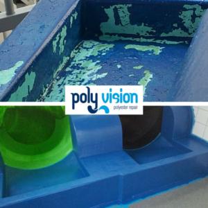 coating instapbak polyester waterglijbaan, polyester reparatie, renovatie, onderhoud, herstel