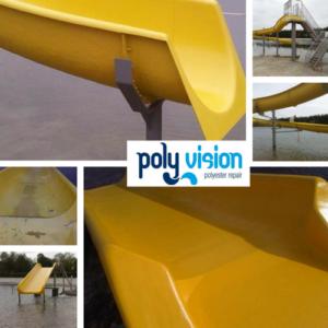 polyester glijbaancoating, polyester reparatie, renvoatie, onderhoud, herstel