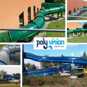 renovatie polyester glijbaan, glijbaanrenovatie, polyester reparatie, renovatie, onderhoud, herstel