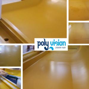 osmosebehandeling polyester waterglijbaan, polyester reparatie, renovatie, onderhoud, herstel