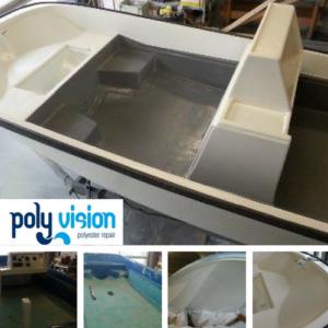 Coaten boot. Wij kunnen uw boot voorzien van een nieuwe coating. Op deze Boston Whaler hebben wij een polyurethaan kleurcoating aangebracht. De kuip van de boot is behandeld met waterdichte polyurea hotspray coating voor optimale bescherming. polyester reparatie boot, gelcoat reparatie boot, polyester herstel schade boot.