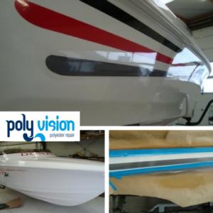 U kunt ons niet alleen inschakelen voor reparatie van polyester en gelcoat schade of voor het coaten van uw boot, maar ook voor ander specialistisch werk. Zo hebben wij bij deze Donzi striping aangebracht. Ook voor maatwerk kunt u bij ons terecht. Neemt u contact met ons op voor de mogelijkheden. polyester reparatie boot, gelcoat reparatie boot, polyester herstel schade boot.