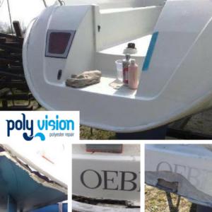Polyester reparatie boot Jeanneau. U kunt bouwen op onze uitgebreide ervaring met het herstellen van de meest uiteenlopende schades. Bij deze Jeanneau was de aanhechting van de schalen gebroken door een aanvaring op de stootlijst. Wij hebben de aanhechting op vakkundige wijze gereconstrueerd. polyester reparatie boot, gelcoat reparatie boot, polyester herstel schade boot.