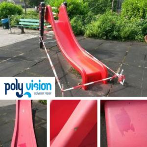 reparatie polyester schade speeltoestel, polyester reparatie, renovatie, onderhoud, polyester herstel