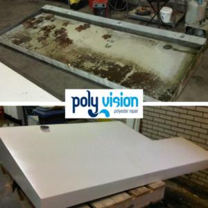 polyester aanpassen, Ook voor het maken van aanpassingen in polyester kunt u bij ons terecht. Zo hebben wij bij deze polyester luifels in Schiedam (Zuid-Holland) niet alleen scheuren gerepareerd, maar ook de afmeting van de luifels en de afvoer aangepast. polyester reparatie, renovatie, onderhoud, polyester herstel