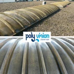 polyester lichtkoepels reinigen. Niet alleen de uitstraling, maar ook de levensduur van polyester lichtkoepels kunnen wij aanzienlijk verbeteren door deze te reinigen. Nadat wij het polyester hebben gereinigd, beschermen wij deze tegen weersinvloeden door een transparante polyurethaan coating aan te brengen. Deze lichtkoepels in Arnhem (Gelderland) hebben wij weer een frisse uitstraling gegeven en beschermd tegen weersinvloeden en vochtindringing. polyester reparatie, renovatie, onderhoud, polyester herstel