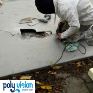 Reparatie aan polyester skatebaan, polyester reparatie skatebaan. polyester reparatie, renovatie, onderhoud, polyester herstel