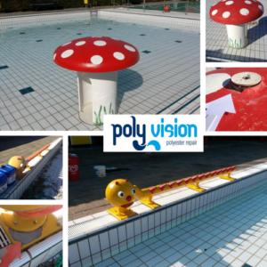 polyester reparatie waterattractie, onderhoud, renovatie, herstel