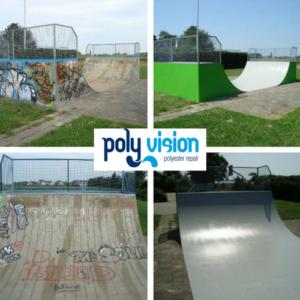 renovatie skatebaan, opknappen skatebaan, polyester reparatie, renovatie, onderhoud, polyester herstel