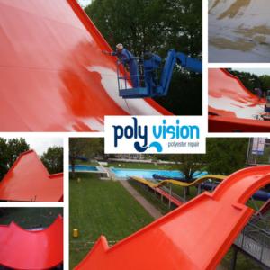 renovatie polyester waterglijbaan of waterattractie, polyester reparatie, onderhoud, renovatie, herstel