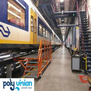 reparatie polyester dakspoiler trein, polyester reparatie trein, polyester reparatie, renovatie, onderhoud, polyester herstel