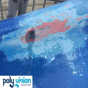 Renovatie glijvlak polyester waterglijbaan, polyester reparatie, renovatie, onderhoud, polyester herstel, coating