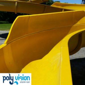 Polyester reparatie waterglijbaan zwembad De Parel Meerssen, polyester reparatie, renovatie, onderhoud, polyester herstel, coating