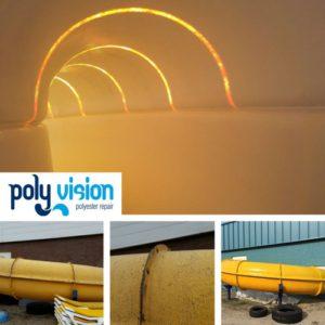 polyester reparatie, renovatie, onderhoud, polyester herstel, coating, coaten polyester waterglijbaan