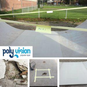 polyester reparatie skatebaan, polyester herstel, renovatie, onderhoud