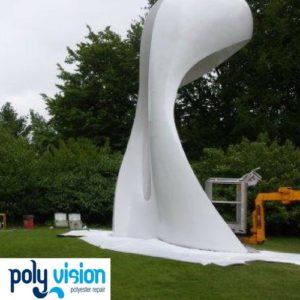 polyester reparatie kunstwerk, polyester herstel