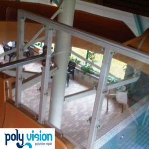 aanpassen instapbak waterglijbaan, waterglijbaan renovatie/onderhoud/reparatie, polyester reparatie