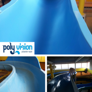 coaten polyester waterglijbaan, waterglijbaan renovatie/onderhoud/reparatie, polyester reparatie