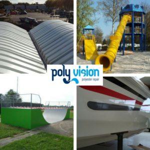 polyester reparatie op locatie, polyester herstel, polyester renovatie, polyester onderhoud