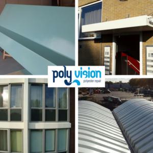 polyester reparatie, polyester renovatie, polyester onderhoud, luifel, dakkapel, boeiboord, dak, lichtkoepel, gevel