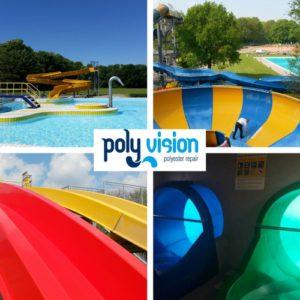 polyester waterglijbaan reparatie, polyester waterglijbaan renovatie, polyester waterglijbaan onderhoud