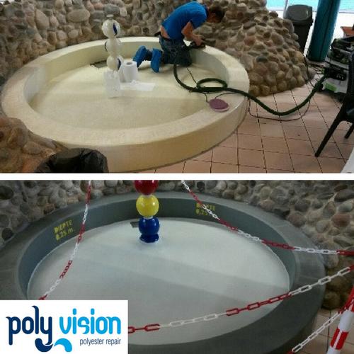Zwembad reparatie/zwembad renovatie/zwembad coating polyester zwembad Zuid-Holland