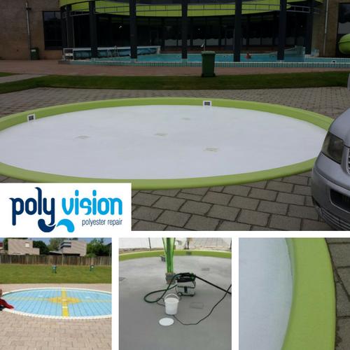 Zwembadrenovatie peuterzwembad met tegels. Zwembad Otterveurdt in Hoensbroek (Limburg) zwembadrenovatie vanwege slechte voegen
