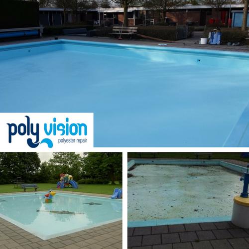 Zwembadrenovatie polyester/betonnen peuterzwembad. Zwembad De Byvoorde in Wehl (Gelderland). zwembadrenovatie vanwege onthechte en doffe/verkrijte zwembadcoating