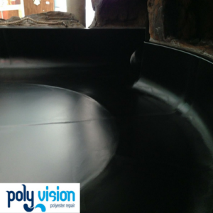 Verhelpen lekkage polyester wildwaterbaan Sportiom (Libéma). polyester reparatie, renovatie, onderhoud, polyester herstel