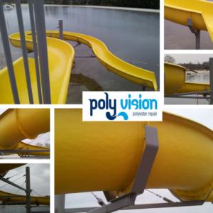 coating staalconstructie polyester waterglijbaan, polyester reparatie, renovatie, onderhoud, herstel