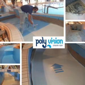 wildwaterbaan coating, polyester reparatie, onderhoud, renovatie, herstel