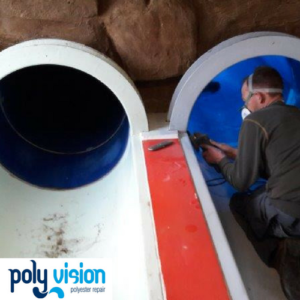 Renovatie en onderhoud polyester waterglijbanen Blits en Flits - Tikibad Duinrell. polyester reparatie, renovatie, onderhoud, polyester herstel, coating