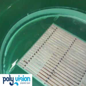 Onderhoud en coaten polyester waterglijbanen Blauwe Haai en Groene Barracuda - Tikibad Duinrell. polyester reparatie, renovatie, onderhoud, polyester herstel, coating