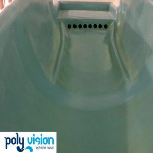 Onderhoud reparatie polyester waterglijbaan, polyester reparatie, renovatie, onderhoud, polyester herstel, coating