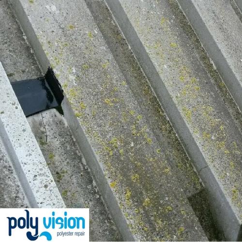 polyester reparatie dak, polyester renovatie dak, polyester onderhoud dak, reinigen polyester dak
