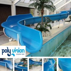 polyester reparatie waterglijbaan