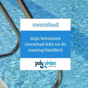 zwembadrenovatie, zwembadcoating, mijn betonnen zwembad lekt en de coating bladdert