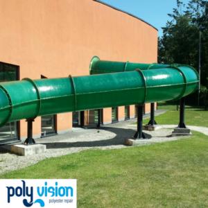 polyester glijbaancoating zwembad Merelbeke België, polyester reparatie, polyester renovatie, polyester herstel, polyester onderhoud