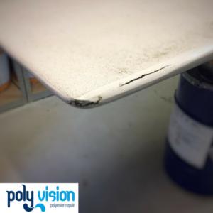 polyester reparatie en antislip coating duikplank, polyester reparatie, polyester renovatie, polyester herstel, polyester onderhoud