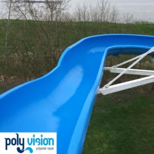 Polyester reparatie en coating waterglijbaan - zwembad De Dompelaar