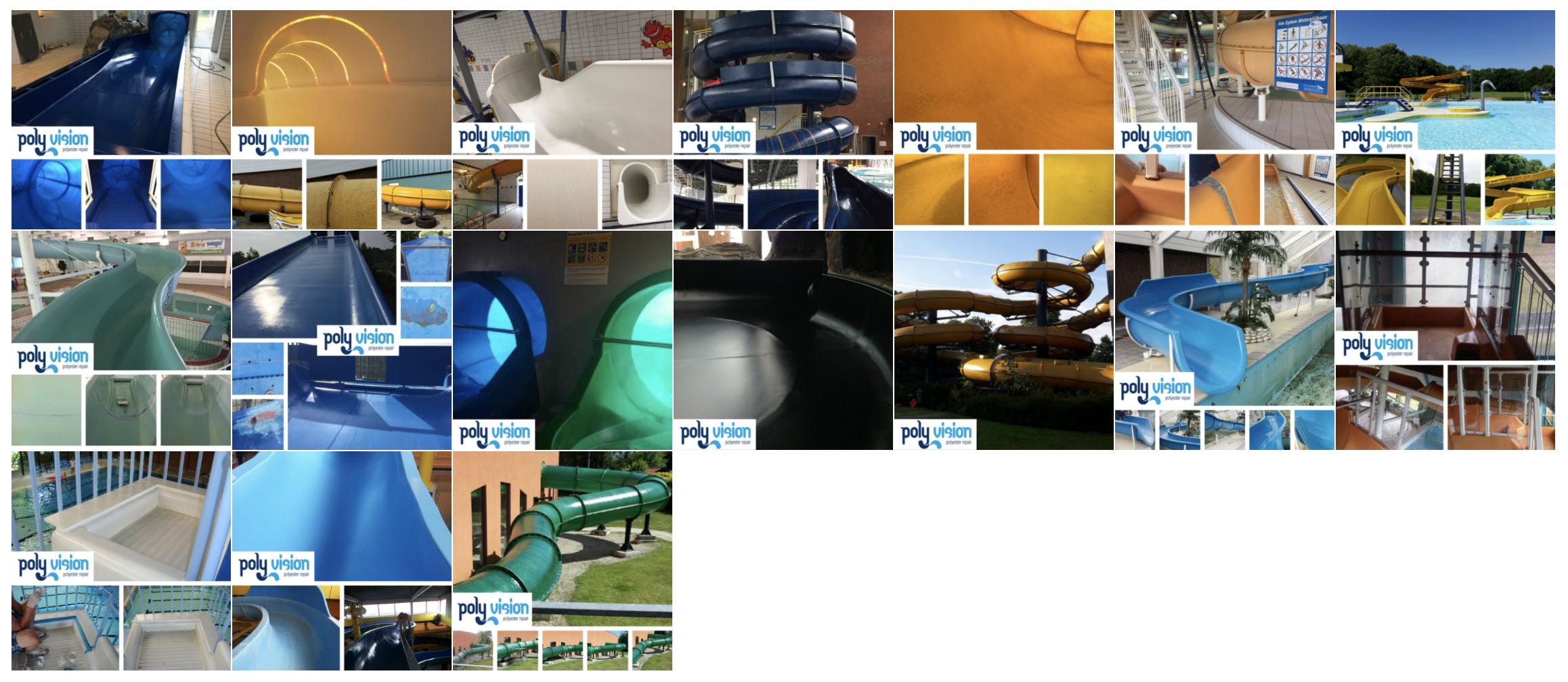 polyester reparatie, renovatie, onderhoud waterglijbanen